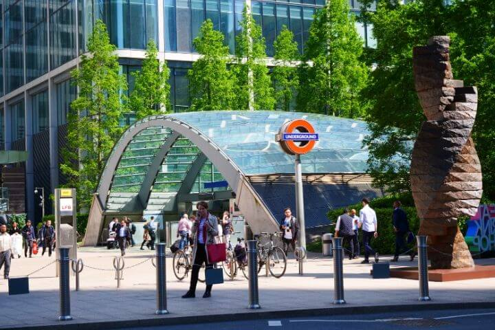 Canary Wharf tube station near the University of Sunderland in London