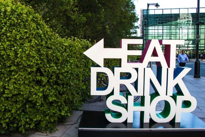 Eat Drink Shop sign at Canaery Wharf near the University of Sunderland in London