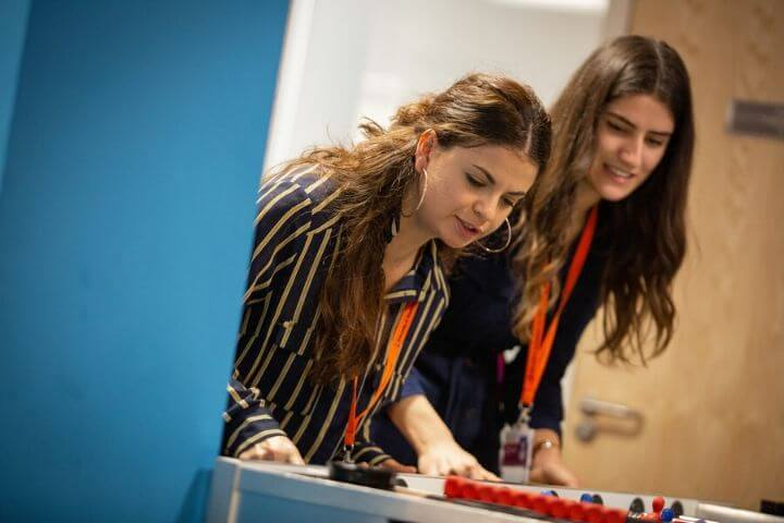 University of Sunderland in London students playing table football