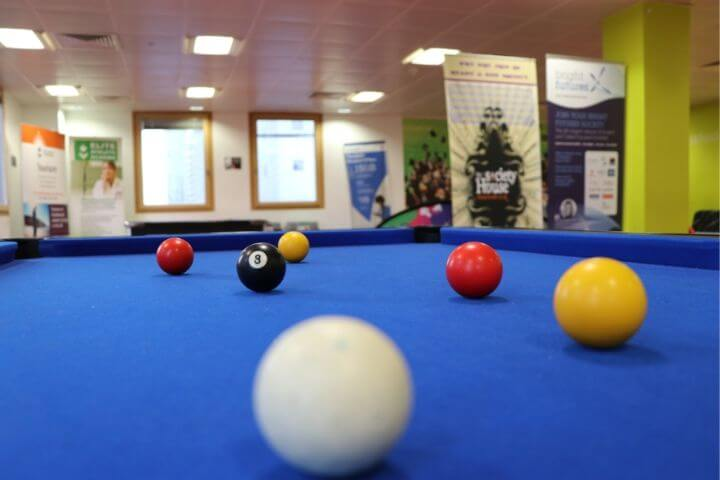 Pool table at the University of Sunderland in London