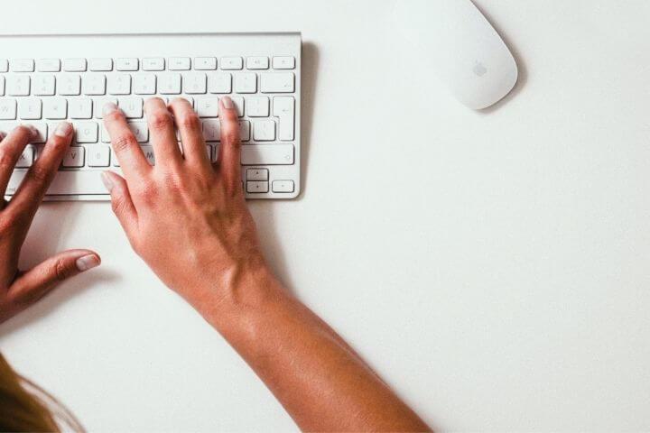 Hand at a keyboard