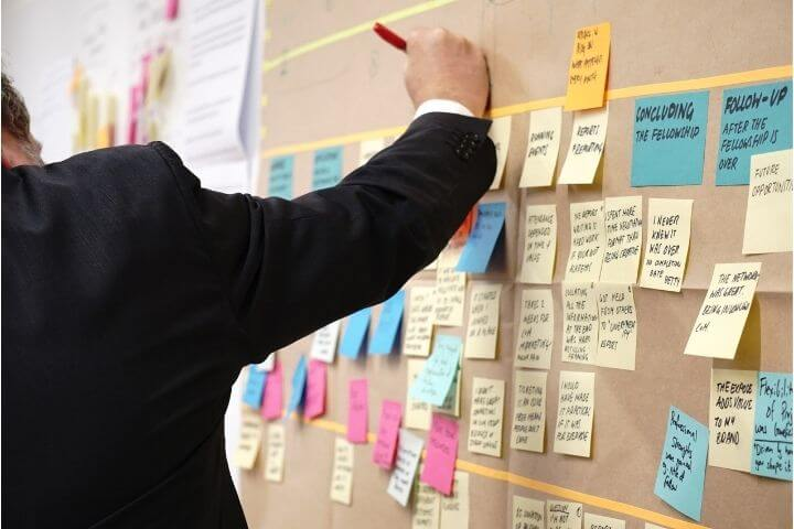 Person using post-it notes