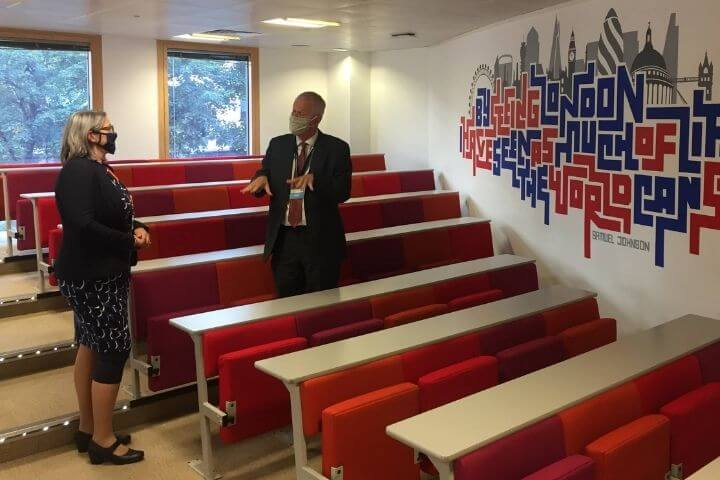 The Vice-Chancellor and Lynsey Bendon in a lecture room