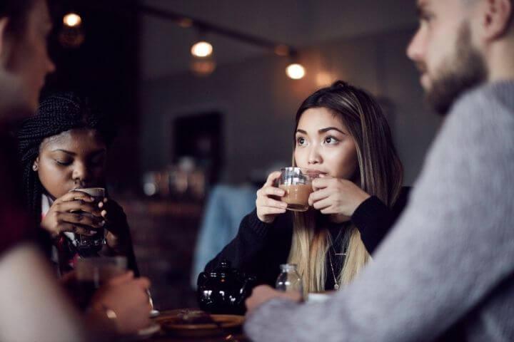 Students drinking tea