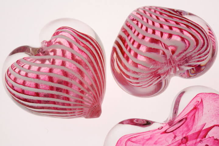 Glass hearts made by students at the University of Sunderland