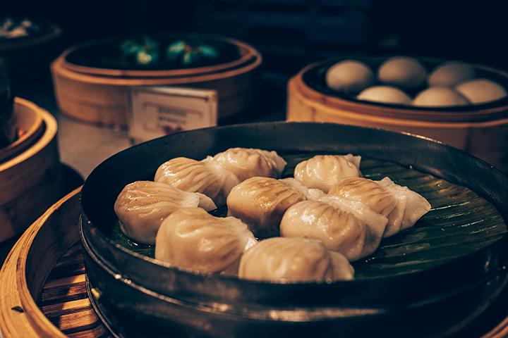 Dumplings on a steamer