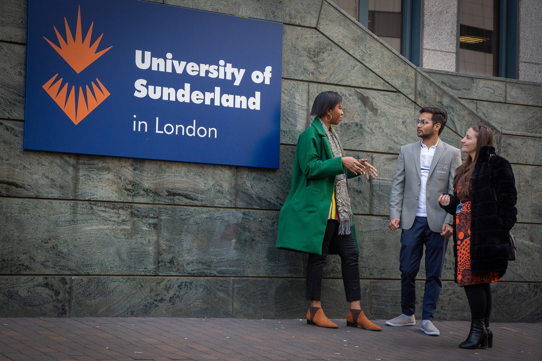 University of Sunderland in London students stood outside the building