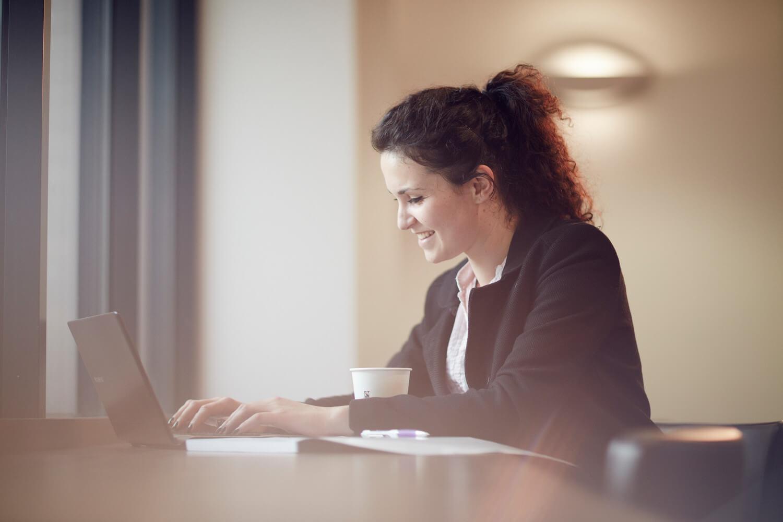 University of Sunderland student at a laptop