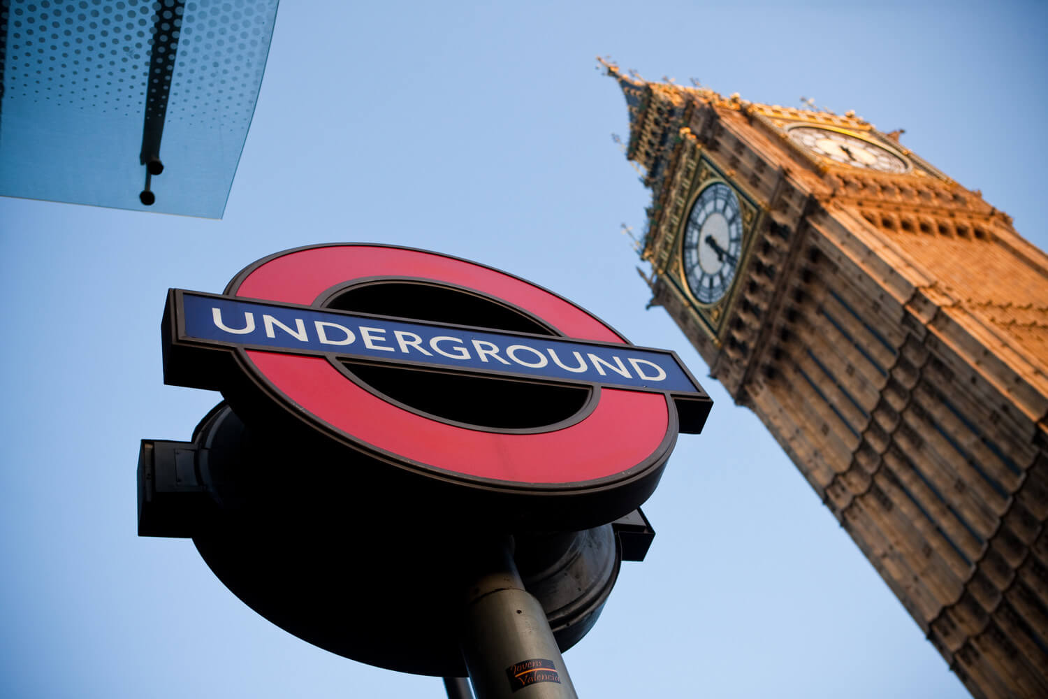 The London underground sign and Big Ben