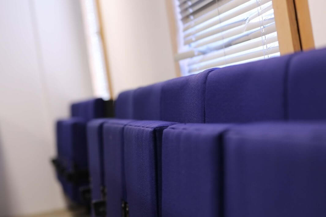 Chairs in a lecture theatre in the University of Sunderland in London